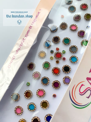 38 PC Small & Mini Velvet Rhinestone Bindis, Bindis - THE KUNDAN SHOP