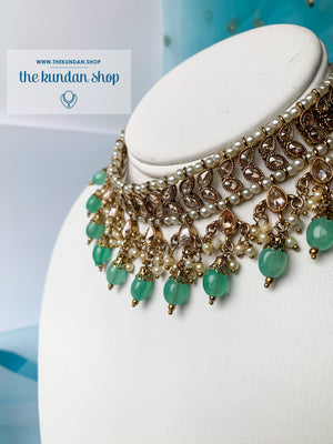 New Beginnings - Mint, Necklace Sets - THE KUNDAN SHOP