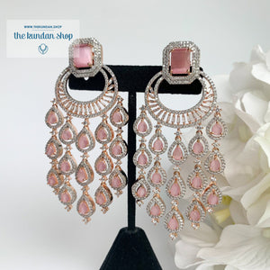 Rose Gold Chandbaalis Earrings THE KUNDAN SHOP Rose Gold + Light Pink