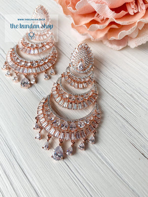 Victorious in Rose Gold, Earrings - THE KUNDAN SHOP