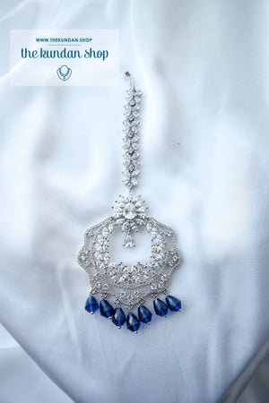 Assorted AD Tikkas Maangtikka THE KUNDAN SHOP Silver & Sapphire