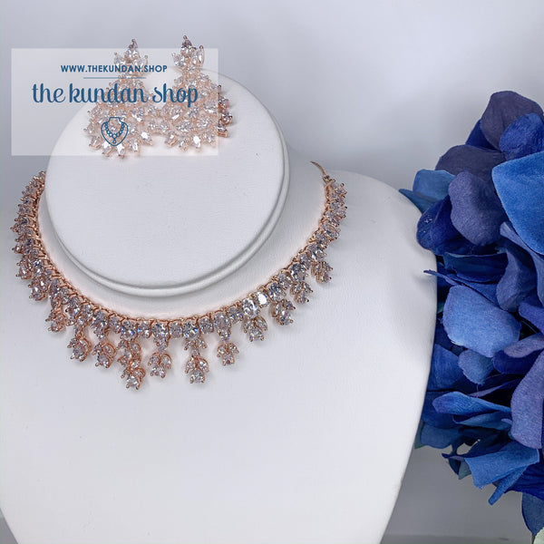 Ornate in Rose Gold, Necklace Set - THE KUNDAN SHOP