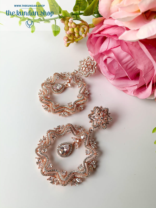 Ostentatious in Rose Gold, Earrings - THE KUNDAN SHOP