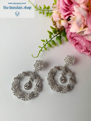 Ostentatious in Silver, Earrings - THE KUNDAN SHOP