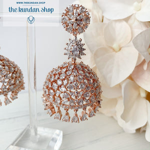 Deep Serene - Rose Gold, Earrings - THE KUNDAN SHOP