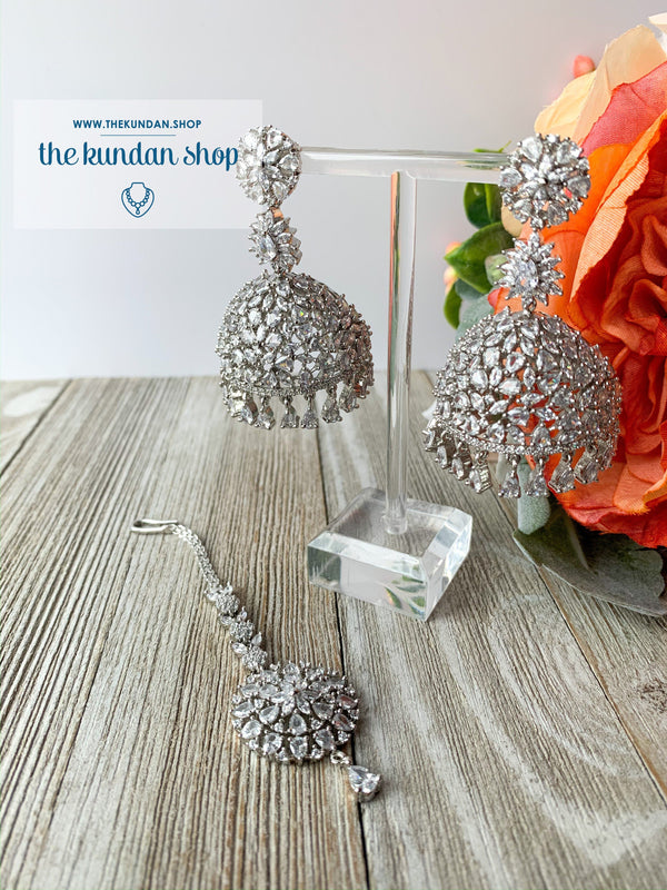 Deep Serene - Silver, Earrings - THE KUNDAN SHOP