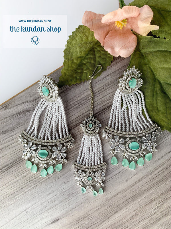 No Strings Attached - Mint, Earrings + Tikka - THE KUNDAN SHOP