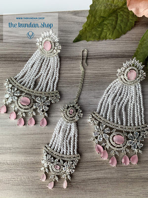 No Strings Attached - Pink, Earrings + Tikka - THE KUNDAN SHOP