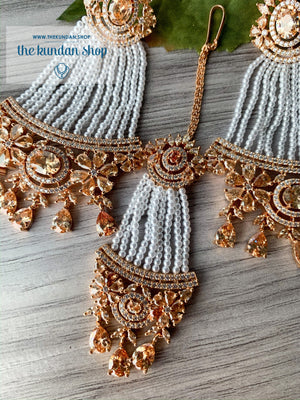 No Strings Attached - Rose Gold, Earrings + Tikka - THE KUNDAN SHOP