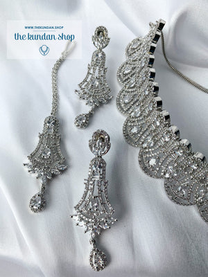 Whimsy in Silver, Necklace Sets - THE KUNDAN SHOP