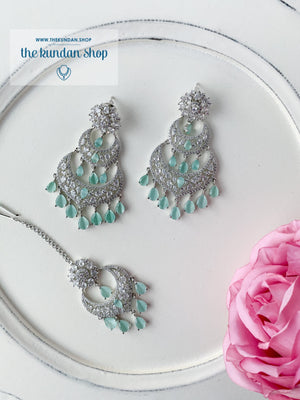 A Princess in Mint Earrings + Tikka THE KUNDAN SHOP