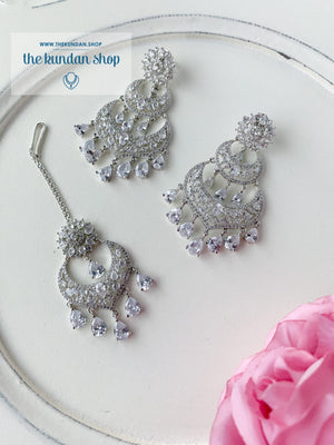 A Princess in Silver Earrings + Tikka THE KUNDAN SHOP