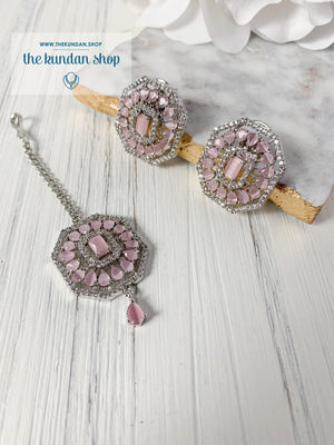 AD Studs & Tikka Earrings + Tikka THE KUNDAN SHOP Silver + Pink