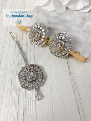 AD Studs & Tikka Earrings + Tikka THE KUNDAN SHOP Silver