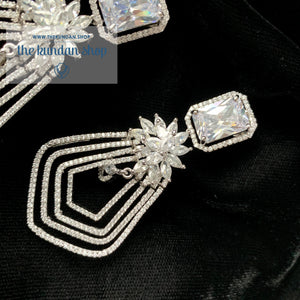 American Diamond Earrings, Earrings - THE KUNDAN SHOP