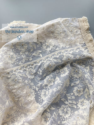 Misty in White, Dupatta - THE KUNDAN SHOP