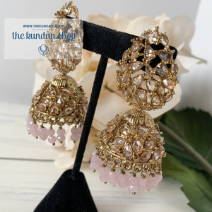 Perfect Trio - Pink, Earrings + Tikka - THE KUNDAN SHOP