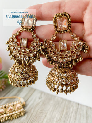Allured in Champagne, Necklace Sets - THE KUNDAN SHOP