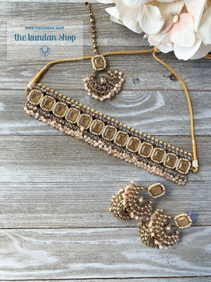 Allured in Light Peach, Necklace Sets - THE KUNDAN SHOP