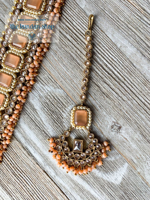 Allured in Peach, Necklace Sets - THE KUNDAN SHOP
