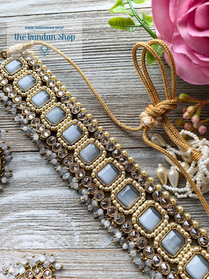 Allured in Sheen Grey, Necklace Sets - THE KUNDAN SHOP