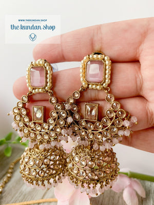 Allured in Sheen Pink, Necklace Sets - THE KUNDAN SHOP