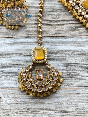 Allured in Sheen Yellow, Necklace Sets - THE KUNDAN SHOP