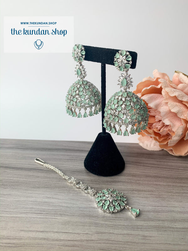 Deep Serene - Mint, Earrings - THE KUNDAN SHOP