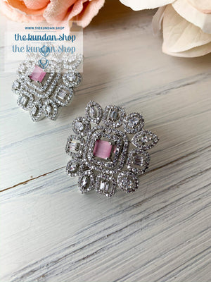 Centered in Pink, Earrings - THE KUNDAN SHOP