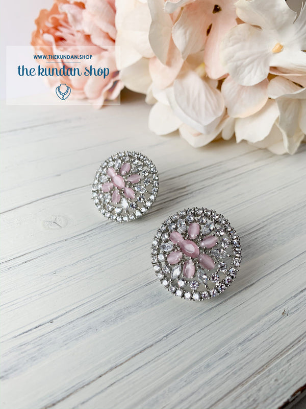 Pink AD Flowers, Earrings - THE KUNDAN SHOP