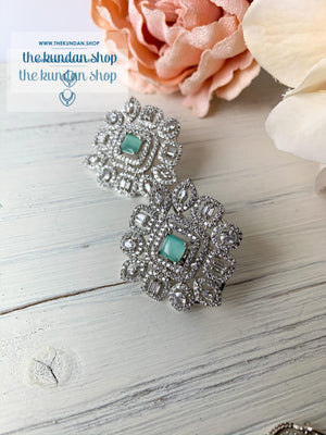 Centered in Mint, Earrings - THE KUNDAN SHOP