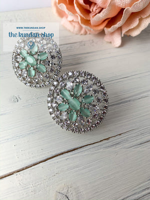 Mint AD Flowers, Earrings - THE KUNDAN SHOP