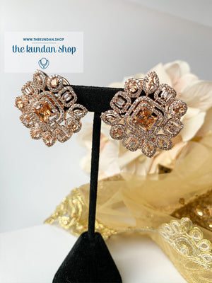 Centered Rose Gold, Earrings - THE KUNDAN SHOP