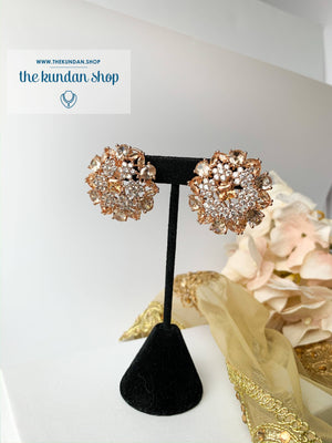 Rose & Silver Flowers, Earrings - THE KUNDAN SHOP