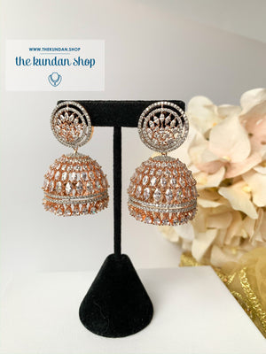 Allusive Jhumkis in Rose Gold, Earrings - THE KUNDAN SHOP