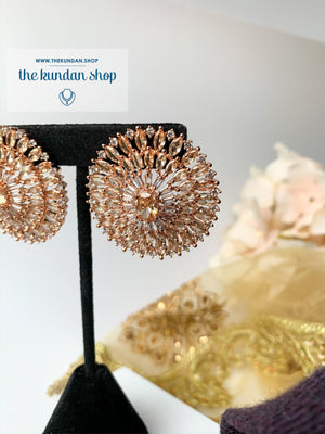 A Rose Gold Mandala, Earrings - THE KUNDAN SHOP