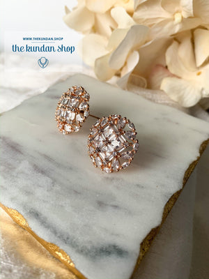 Impulse in Rose Gold, Earrings - THE KUNDAN SHOP