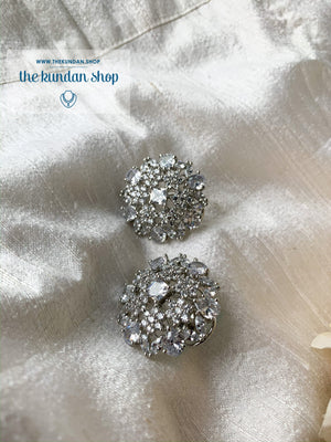 Pure Silver Flowers, Earrings - THE KUNDAN SHOP