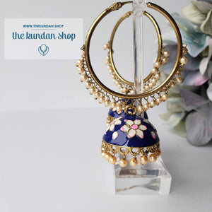 White Flower Baali (various colors) Baalis THE KUNDAN SHOP Midnight Blue