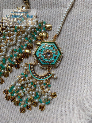 Ethereal in Baby Blue & Gold Necklace Sets THE KUNDAN SHOP