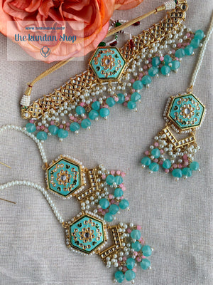 Ethereal in Baby Blue & Pink Necklace Sets THE KUNDAN SHOP