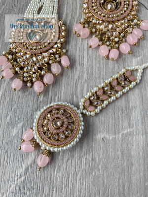 Illusion Set in Baby Pink Earrings + Tikka THE KUNDAN SHOP