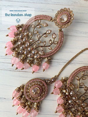 Smooth Move - Baby Pink, Earrings + Tikka - THE KUNDAN SHOP