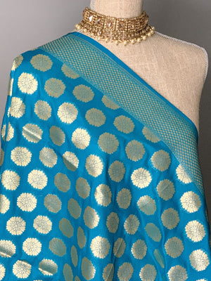 Floret Banarsi - Vibrant Blue, Dupatta - THE KUNDAN SHOP