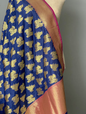 Classic Dance Blue Banarsi Dupatta, Dupatta - THE KUNDAN SHOP