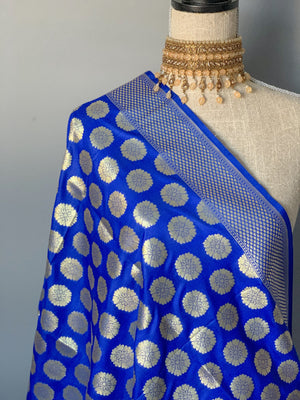 Floret Banarsi - Midnight blue, Dupatta - THE KUNDAN SHOP