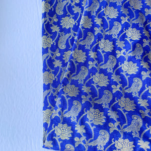 Intricate Floral Midnight Blue Banarsi Dupatta, Dupatta - THE KUNDAN SHOP