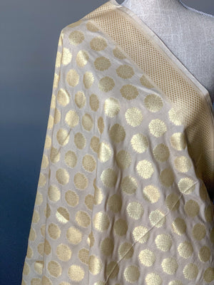 Floret Banarsi - Cream, Dupatta - THE KUNDAN SHOP