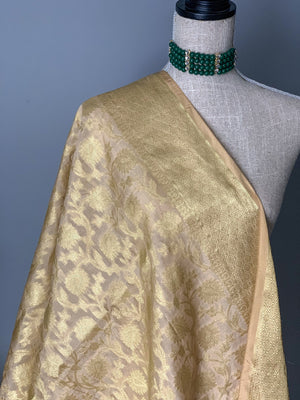 Champagne Cream Banarsi Dupatta, Dupatta - THE KUNDAN SHOP