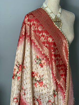 Strawberry Shortcake Floral Banarsi Dupatta, Dupatta - THE KUNDAN SHOP